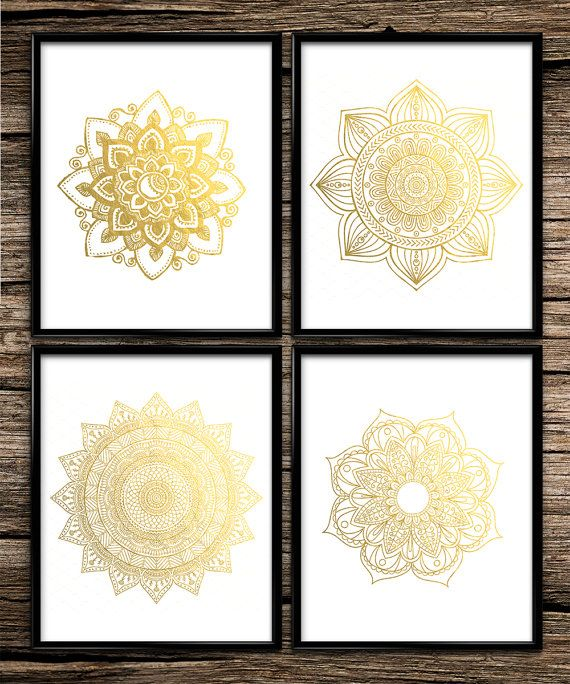 Gold Mandala Set | Modern Prints | Gold Prints | Office Decor | Home Decor | Printable Wall Art | Modern Wall Art | 8x10 | Instant Download