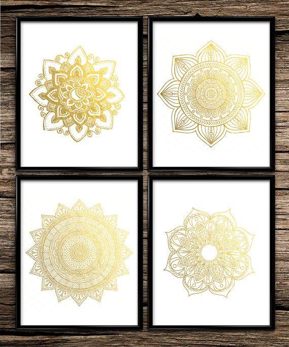 Gold Mandala Set Modern Prints Gold Prints Office Decor Home Decor