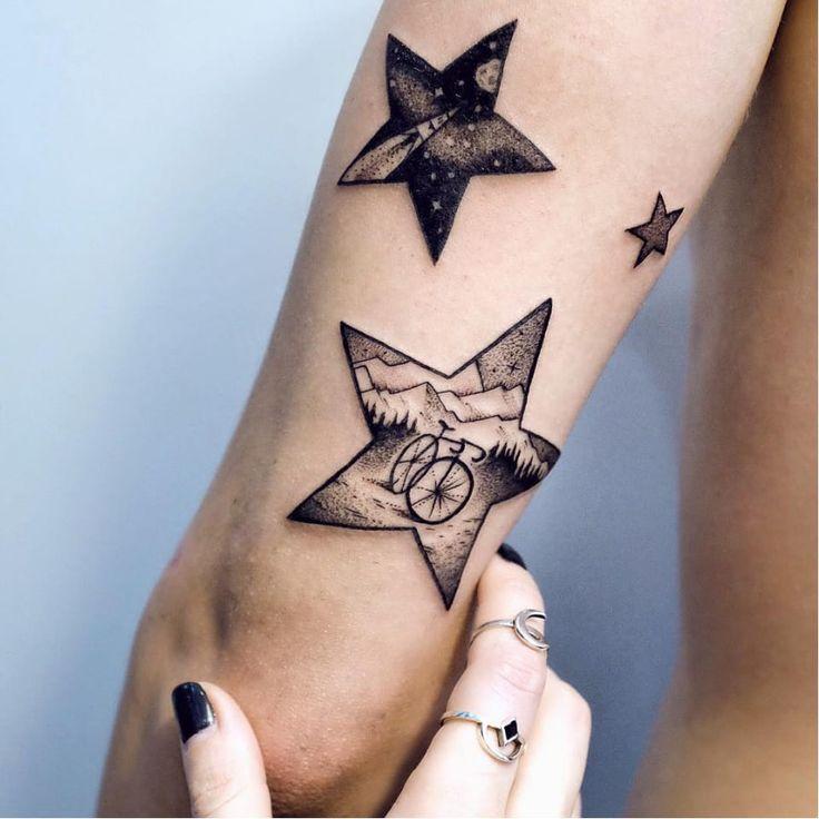 Beautiful bicycle tattoo by @sashakiseleva from Instagram bicycle bicycletattoo blackwork star detail