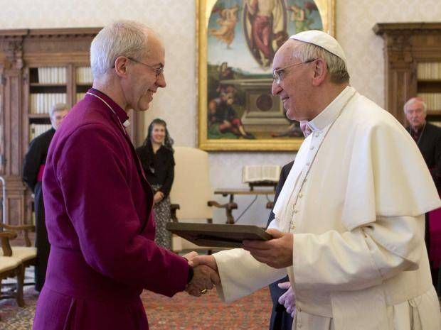 Pope Francis has welcomed the Archbishop of Canterbury the Most Rev Justin Welby in Rome, the first time the two church leaders have met.