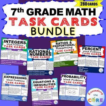 7th Grade Math Common Core WORD PROBLEM TASK CARDS { BUNDL