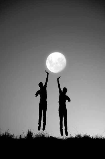Playing volleyball with the moon