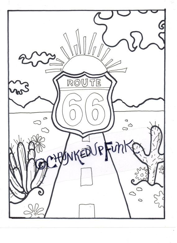 Printable Coloring Page Route 66 Arizona Texas By ChunkedUpFunk