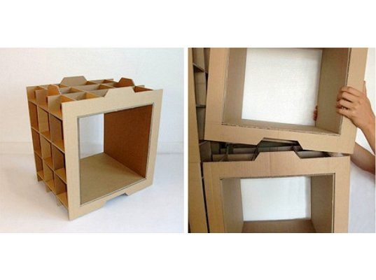 recycled cardboard, modular shelves, danny gilles, recycled cardboard shelves, recycled materials, green furniture