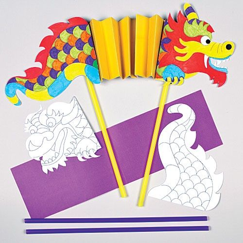 Colour-in Chinese Dragon Puppet Kits