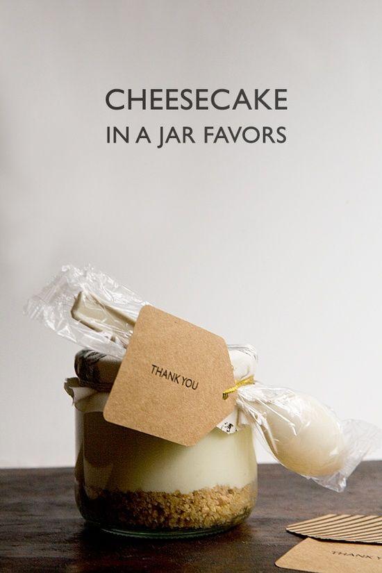 {DIY Cheesecake in a Jar Favors} Yum. So fun.