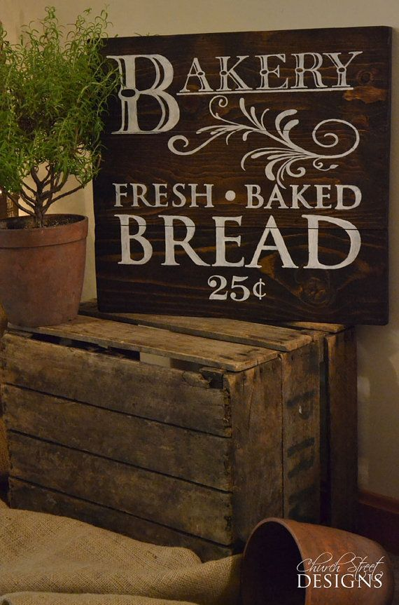 French Country Kitchen Decor Vintage Bakery Sign Fresh Baked Bread