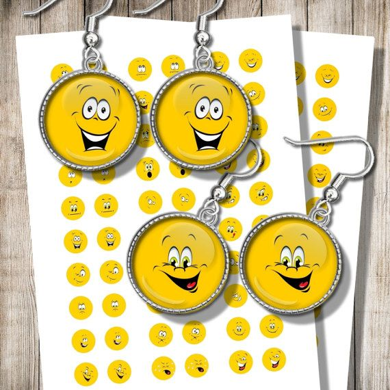 Emoji Earrings Images Printable Collage Sheet Emoticons for