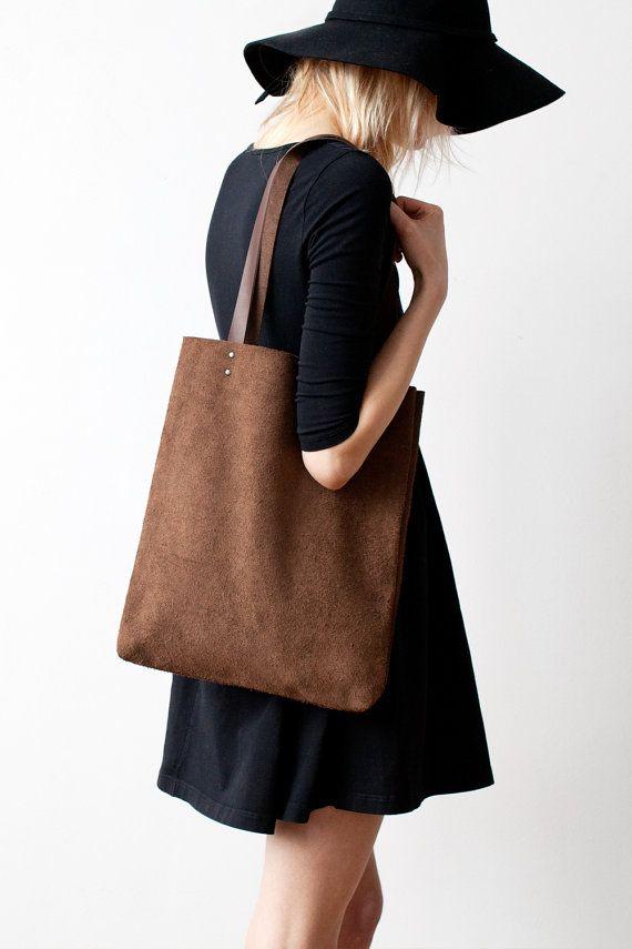 Simple Brown Suede Tote bag No.TL 601 by CORIUMI on Etsy