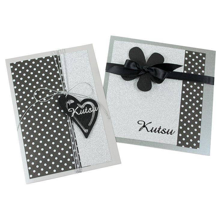 Kimallepaperilla saat kortteihisi juhlantuntua. Tässä pari kaunista ja yksinkertaista mallia. Voit myös korvata kutsutarran onnittelulla.