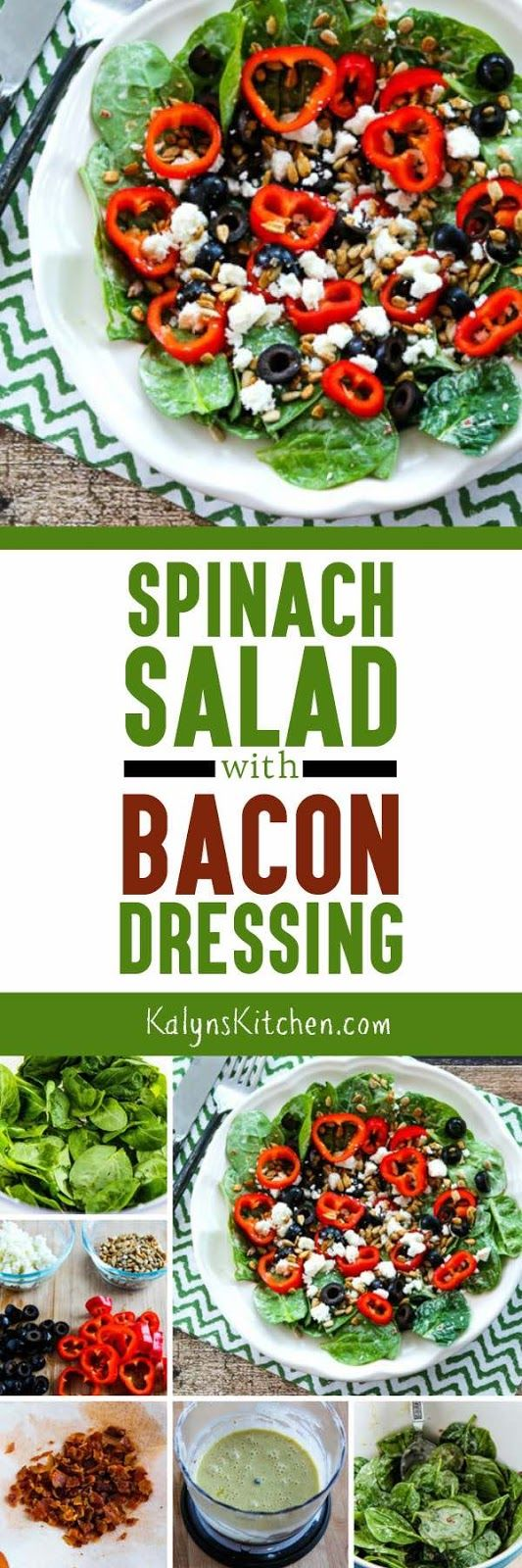It only takes the tiniest bit of bacon to add great flavor to this Spinach Salad with Bacon Dressing! And this tasty salad idea is low-carb, gluten-free, South Beach Diet friendly, and with the right mayo and salad toppings this can be Whole 30 or Paleo. [found on KalynsKitchen.com]