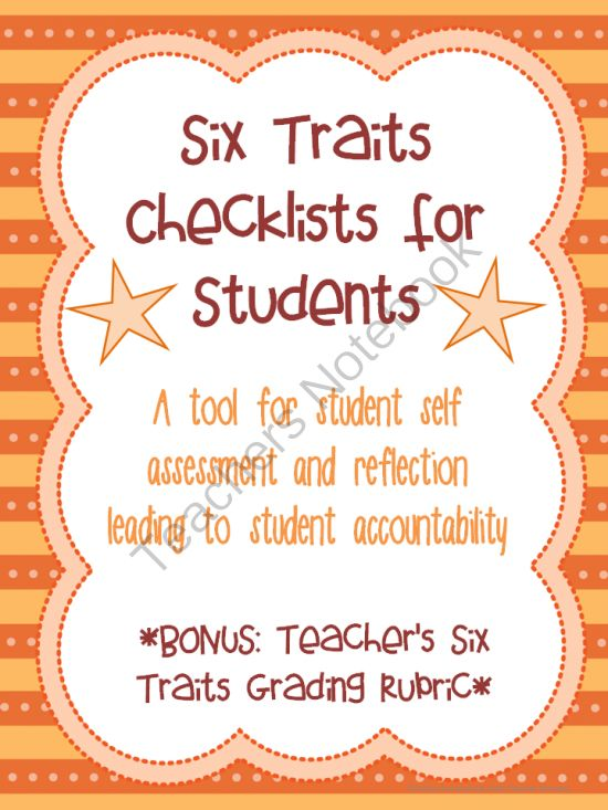 Six Traits Writing Student Checklists and Grading Rubric Color and BW Assessment from Wife Teacher Mommy on TeachersNotebook.com -  (17 pages)  - These bright, colorful checklists will be a useful tool for your students to assess their own writing using the six traits. This also includes a Six Traits grading rubric for teachers! Color and B&W.
