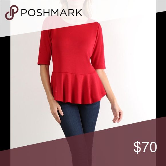 💕COMING SOON!*💕 Red Peplum top! Will be available in small medium large and xlarge!!! LIKE TO BE NOTIFIED OF ARRIVAL! Tops Blouses