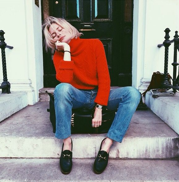 Seriously how can you go wrong with a red knit, the ultimate wash jeans and Gucci loafers?