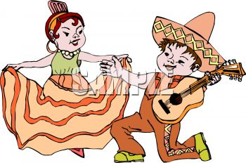 iCLIPART - A Mexican man with a guitar serenading a woman