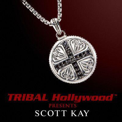 Scott Kay CRUSADES BLACK SAPPHIRE CROSS Medallion Mens Cross Necklace