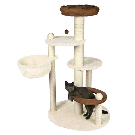 Cat Tree With Tiered Perches And Pom Pom Toy. Product: Cat TreeConstruction  Material: Sisal And Faux Suede