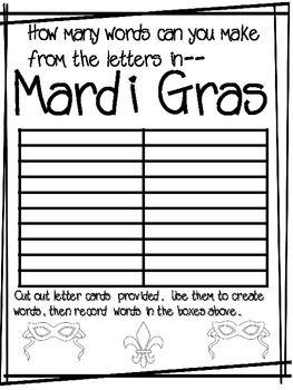 Mardi Gras Word Game plus Word Search-FREEBIE