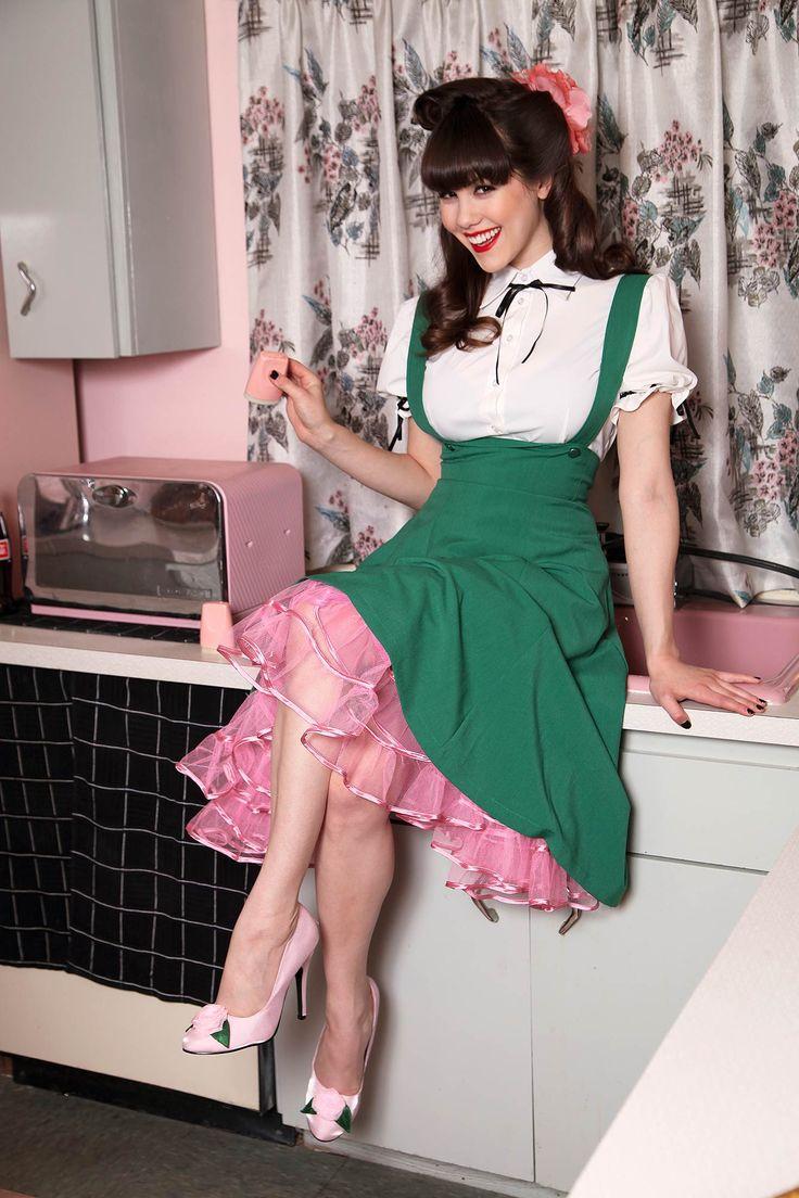 Tatyana 1950 S Retro Jumper Circle Skirt Green Audrey