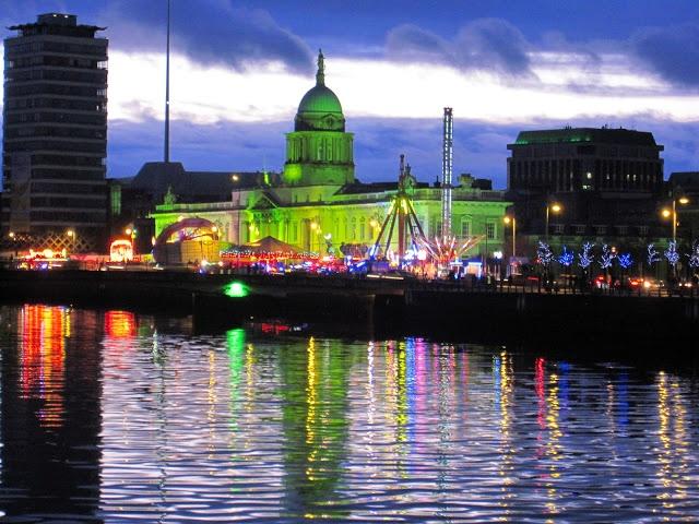 Dublin, Ireland.   Greening of buildings in Dublin for St Patricks Day 2013