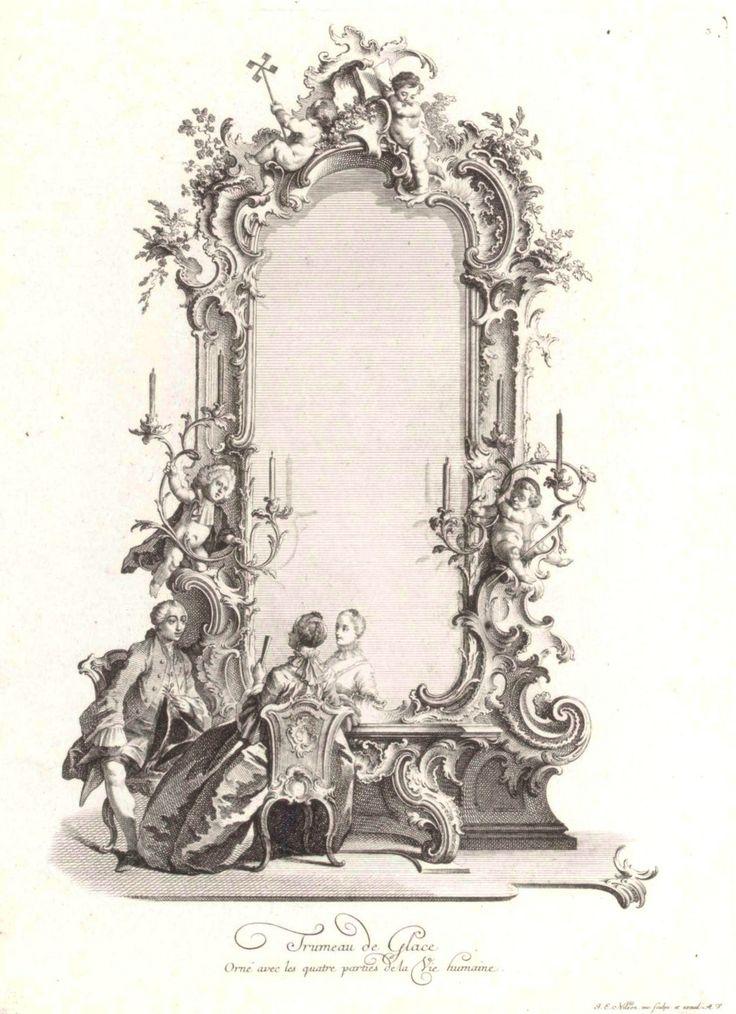 Trumeau de Glace, Orné avec les quatres parties de la Vie humaine  Johann Esaias Nilson (German, Augsburg 1721–1788 Augsburg)  18th century Etching  (via The Metropolitan Museum of Art )