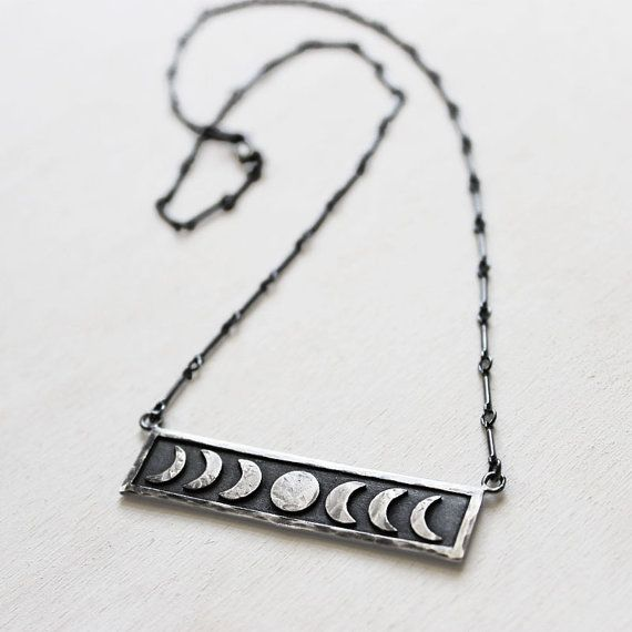 Sterling Silver Moon Phase Necklace. Lunar by IvyandGoldHandcraft