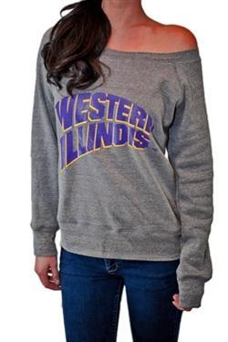 Western Illinois University Wide neck Gray Sweatshirt