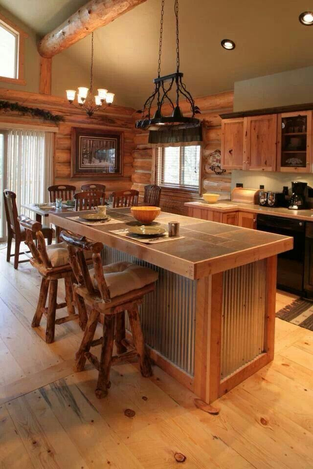 Love the floors and tin on the island future home oh for Log cabin kitchen islands