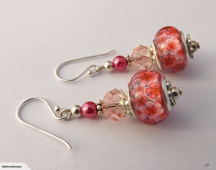 Pink Floral Bead Earrings on 925 Hooks | Trade Me