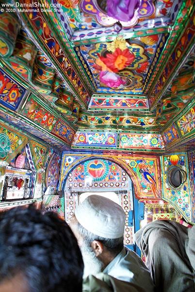 The inside of a pakistan truck