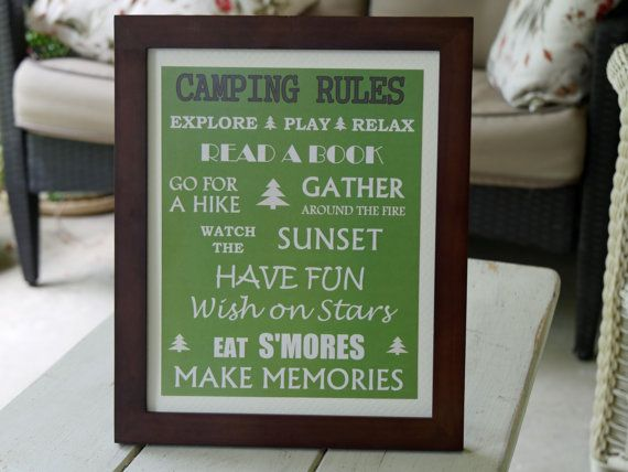 Camping Rules Framed Sign !