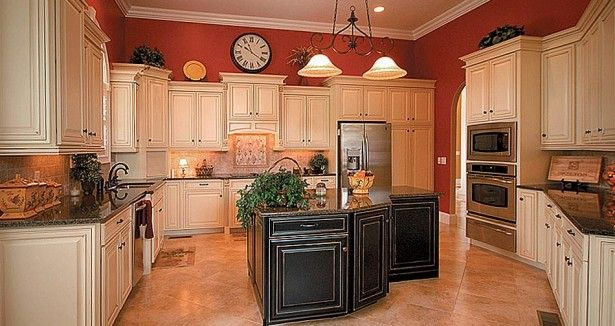 The Way to Preserve Antique Kitchen Cabinets: Antique White Kitchen Cabinets With Chocolate Glaze ~ laurieflower.com Kitchen Inspiration