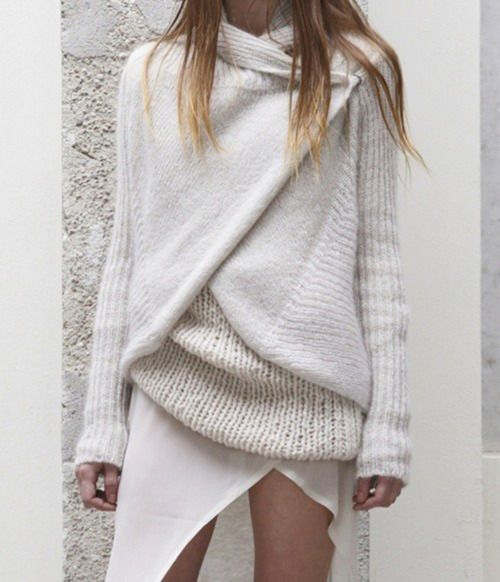 white wrap sweater