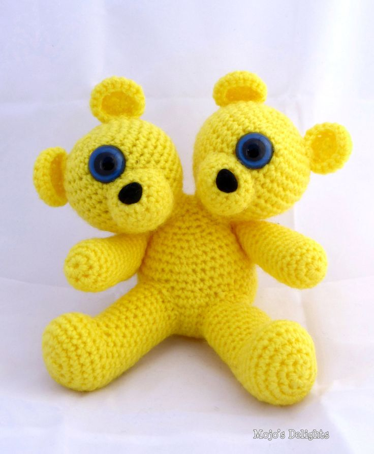 Crocheted Two Headed Mutant Bear by MojosDelights on Etsy