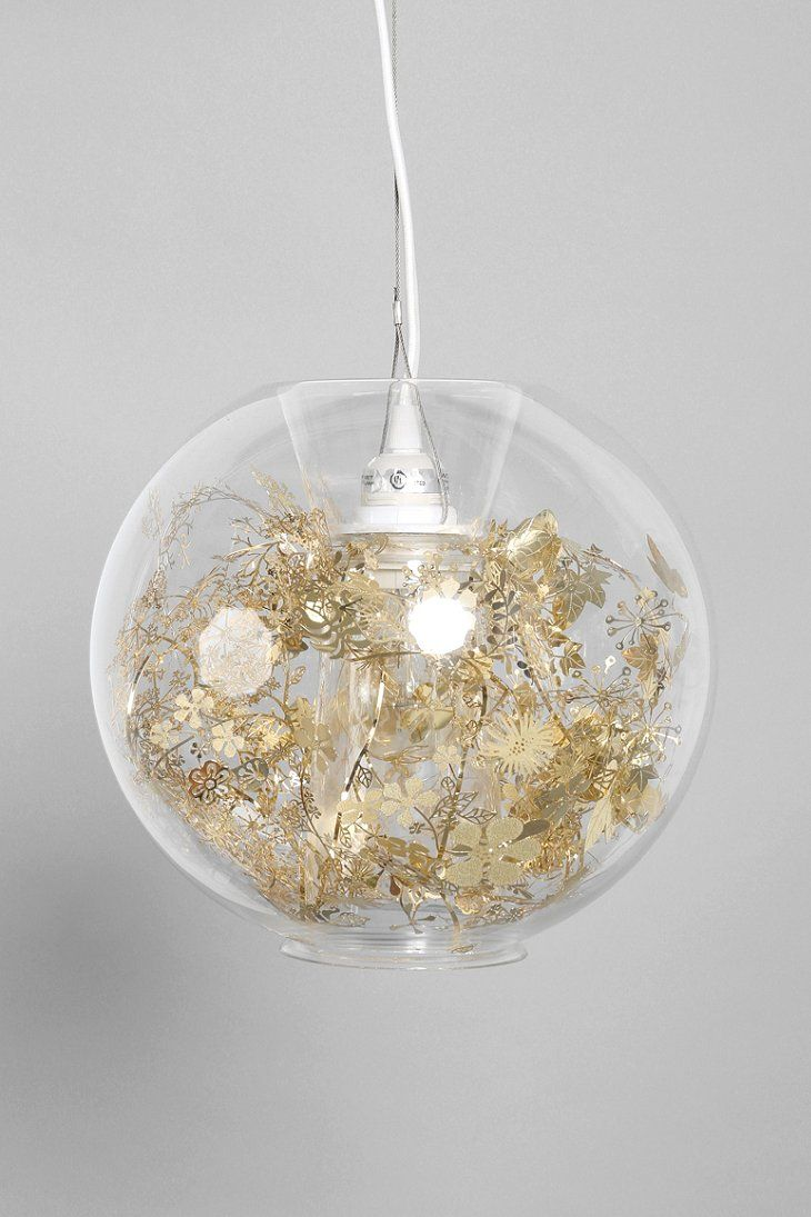 Artecnica Garland Globe Pendant Fishbowl, Gold Or Silver Glitter Garland,  Battery Operated Candle Lights