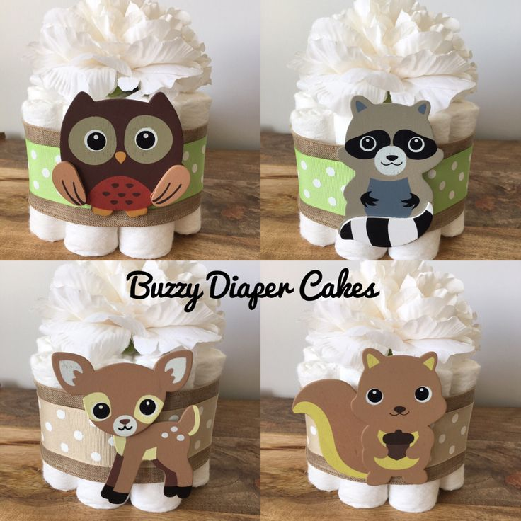 Set of 4 Woodland Mini Diaper Cakes for Woodland Theme Baby Shower Centerpiece by BuzzyDiaperCakes on Etsy https://www.etsy.com/listing/470941335/set-of-4-woodland-mini-diaper-cakes-for