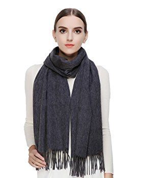 Womens 100 Cashmere Scarf, Faurn Pure Pashmina Long Warm Fashion Scarves Shawls Wraps With Fringes Fall Winter 2016 Grey