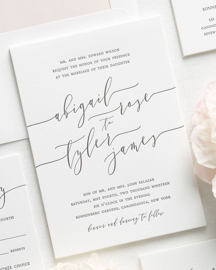 Letterpress Wedding Invitations with Modern Calligraphy 15
