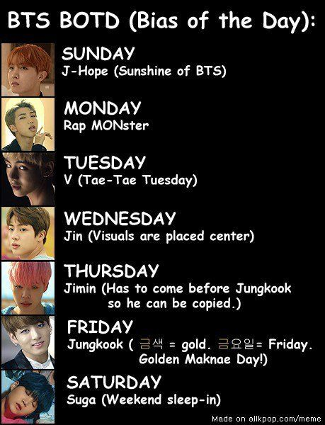 """Solution to the """"I can't choose a BTS bias"""" problem >>> it's funny cause in Japanese Friday is Gold day as well!!! (Favorite Meme)"""