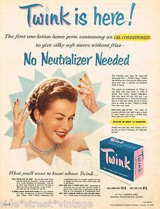 """Twink, oh, my goodness, I was """"Twinked"""" at the age of ten and could not get a comb through the tight curls for ages."""