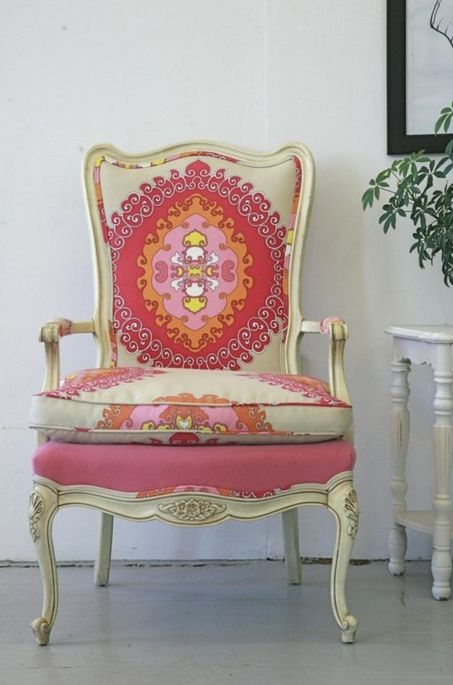 love the fabric: Trina Turk, Idea, Colors, Interiors Design, Pink Chairs, Fabrics, French Chairs, Old Chairs, Design Home