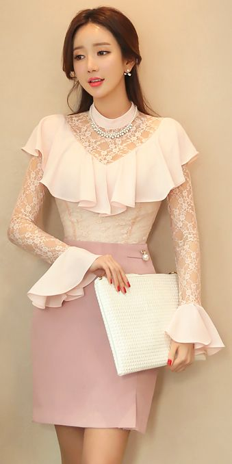StyleOnme_Gold Ribbon and Pearl Accent Pencil Skirt #pearl #pastel #pink #feminine #elegant #lace #koreanfashion #seoul #kfashion #kstyle #skirt