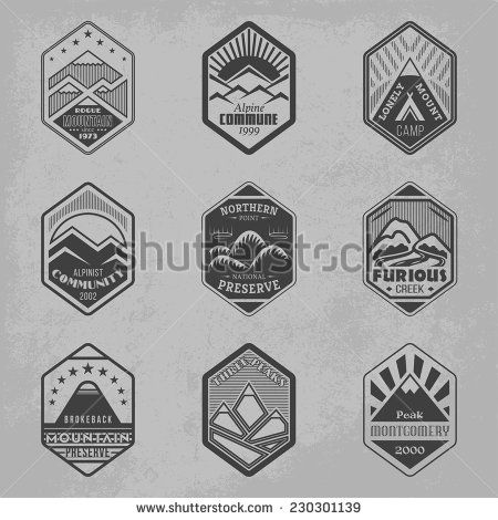 Set of alpinist and mountain climbing outdoor activity vector logos. Logotype templates and badges with mountains, peaks, creeks, trees, sun, tent. National parks and nature exploration symbols - stock vector
