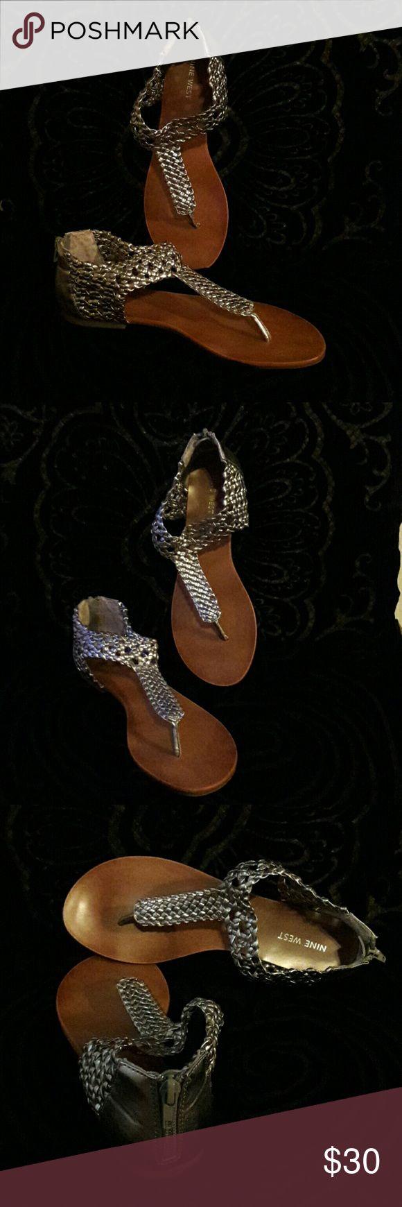 Nine West Pewter Sandals Pewter colored, Nine West summer sandals. Perfect with summer dresses. Nine West Shoes Sandals