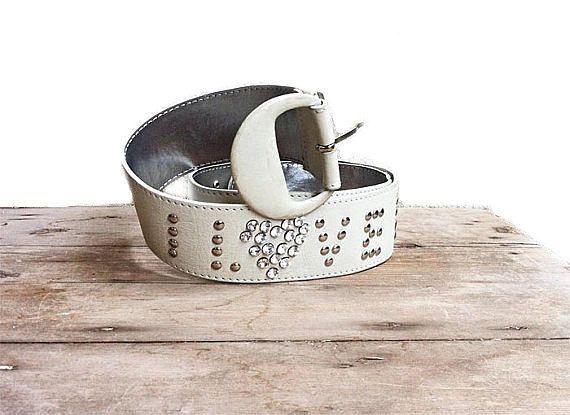 FERRETTI Leather High Belt   I Love Diamonds   Jewel Belt 80s  Gray ice Silver