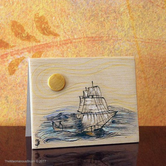 A #sketch of a ship on balsawood card with a #motherofpearl sun ~ #balsawood