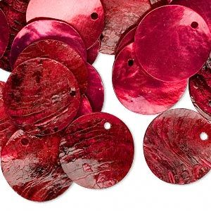 Drop, mussel shell (dyed / coated), red, 20mm flat round, Mohs hardness 3-1/2. Sold per pkg of 25.