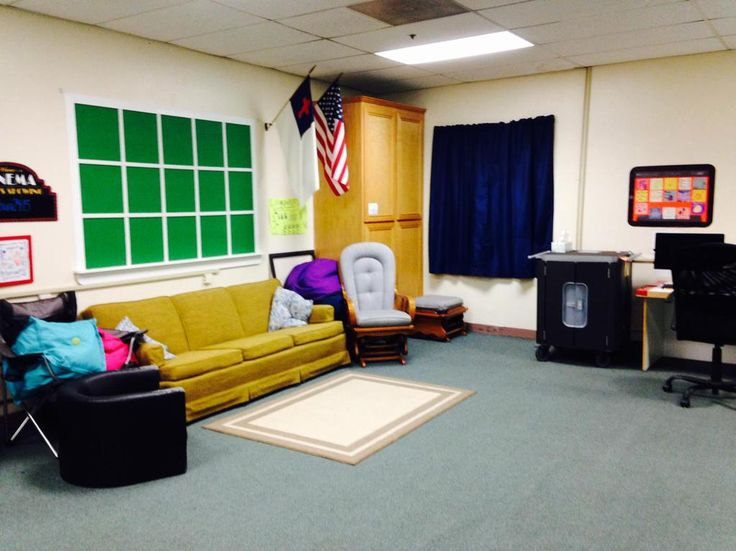 MY CLASS:  Our cozy area -- the picture window is a green screen opportunity.