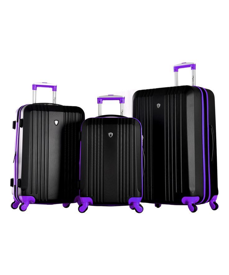 This Black & Purple Three-Piece Hard Case Luggage Set by Olympia is perfect! #zulilyfinds