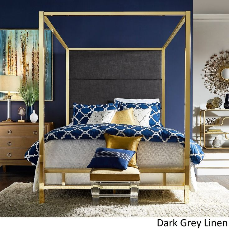 Evie Gold Metal Canopy Bed with Linen Panel Headboard by iNSPIRE Q Bold (Queen Size - Dark Grey Linen), Black